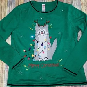 Light up  ugly Christmas Cat sweater size …
